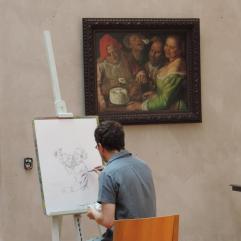 Guillaume Long devant Les Mangeurs de ricotta de Vicenzo Campi