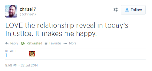 Twitter  chrise17 LOVE the relationship reveal ..